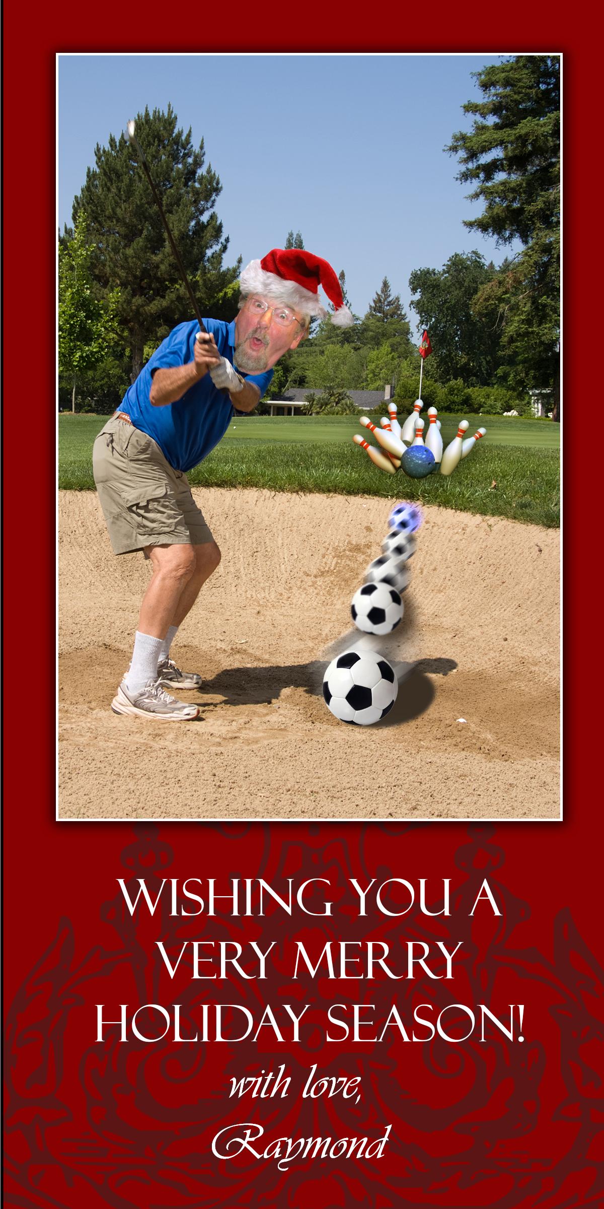 fun card with man golfing